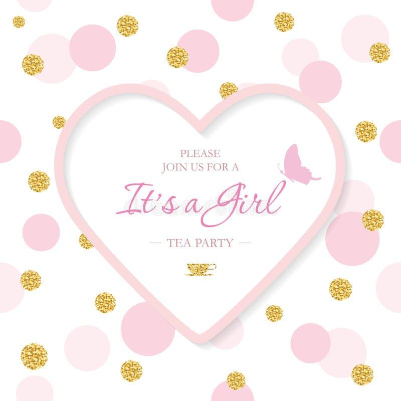 Het malplaatje van de de Doucheuitnodiging van de meisjesbaby Het inbegrepen gestalte gegeven kader van het laserknipsel hart op  royalty-vrije illustratie