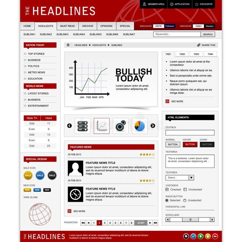 Het Malplaatje van de Elementen van het Ontwerp van het Web royalty-vrije illustratie