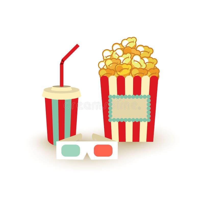 Het malplaatje van de filmaffiche Popcorn, stereoglazen van de soda de meeneem, 3d bioskoop De elementen van het bioskoopontwerp royalty-vrije illustratie