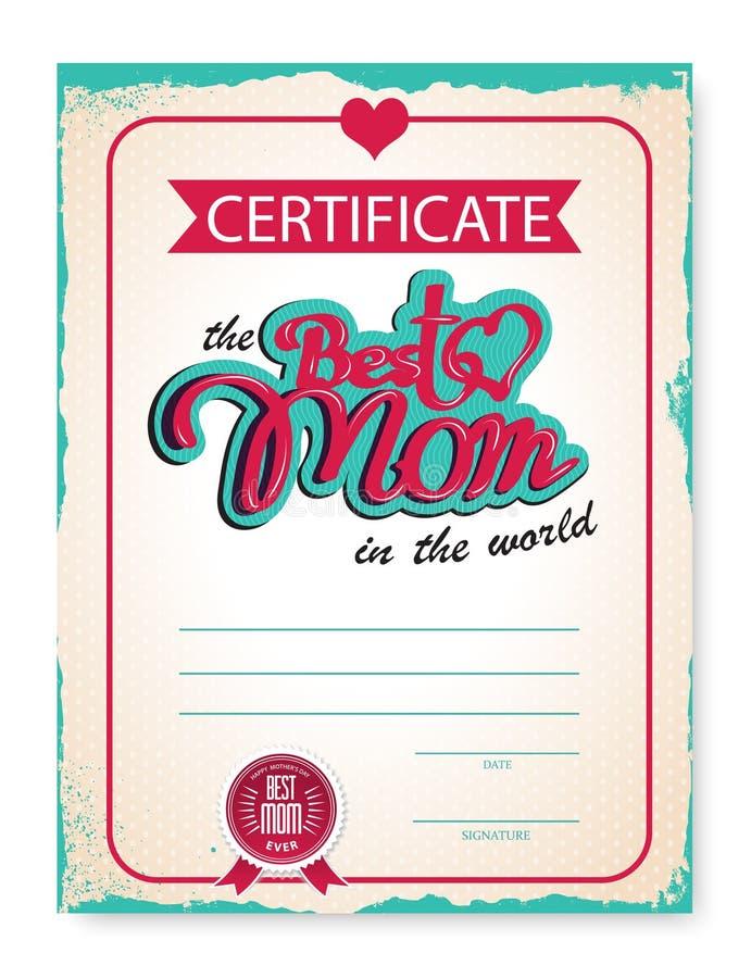 Het malplaatje van de gelukwensen van het certificaatdiploma voor de dag van de moeder in uitstekende retro stijl Vector illustra vector illustratie
