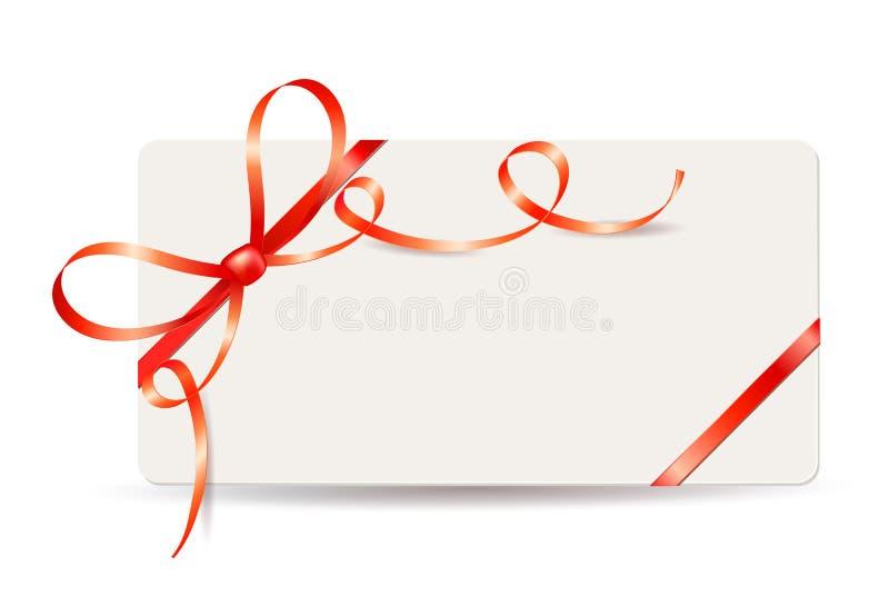 Het malplaatje van de giftkaart met rode linten en boog op witte achtergrond vector illustratie