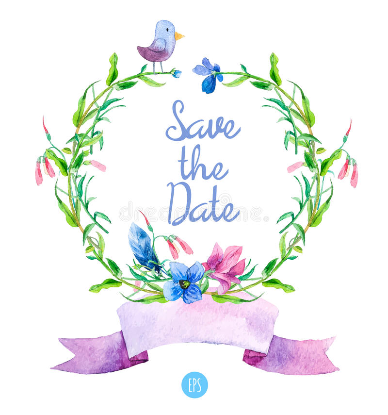 Het malplaatje van de groetenkaart met blauwe de zomerbloemen Vector vector illustratie