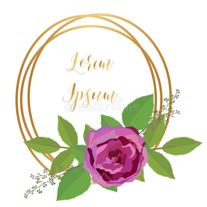 Het malplaatje van de groetkaart met gouden rond kader en roze rozen royalty-vrije illustratie