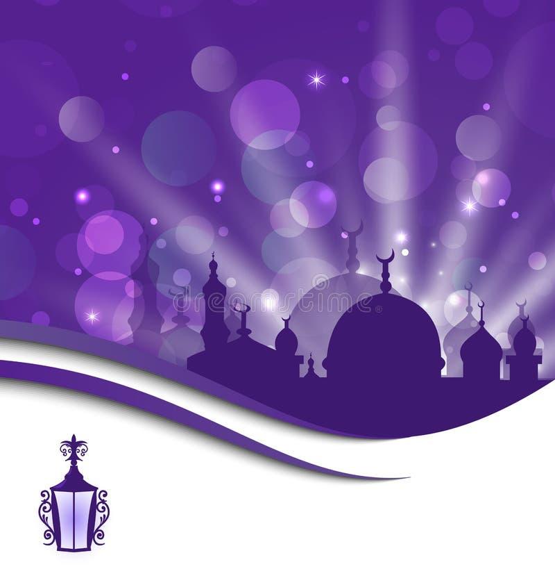 Het malplaatje van de groetkaart voor Ramadan Kareem vector illustratie