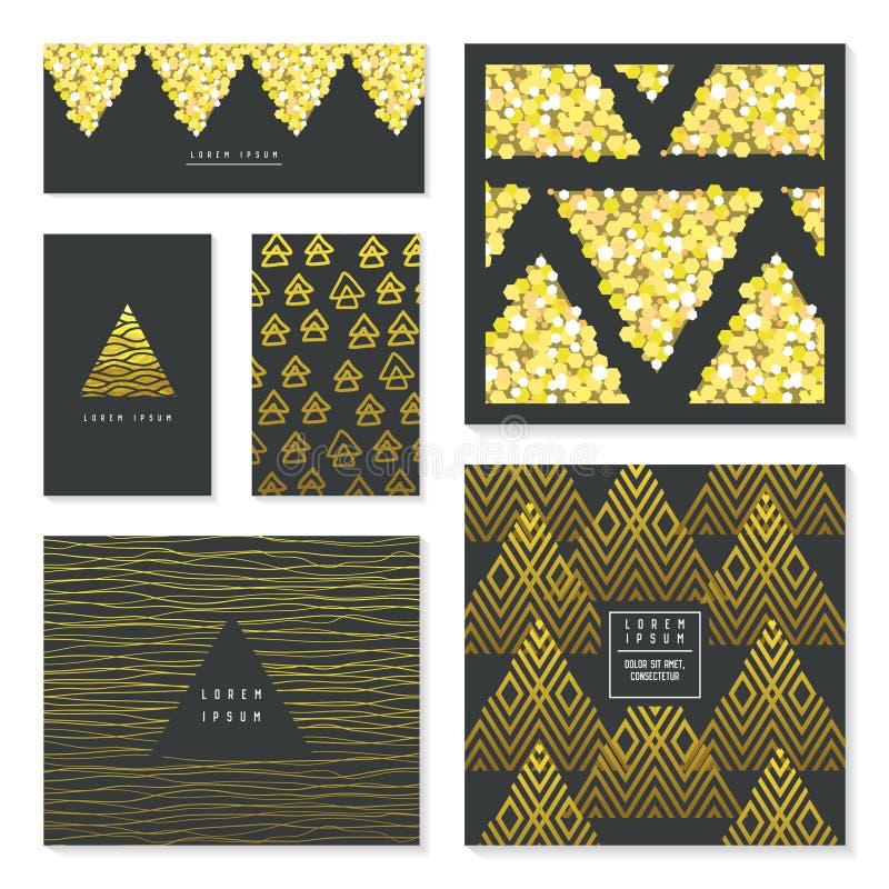 Het Malplaatje van de Groetkaarten van het Kerstmisnieuwjaar Gouden schitter Brochures, royalty-vrije illustratie