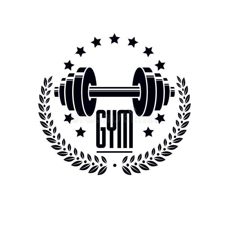Het malplaatje van de de gymnastiek logotype sport van het Bodybuildingsgewichtheffen, retro stijl vectorembleem vector illustratie