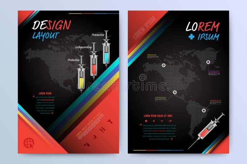 Het malplaatje van de het ontwerplay-out van de brochurevlieger in A4 grootte royalty-vrije illustratie