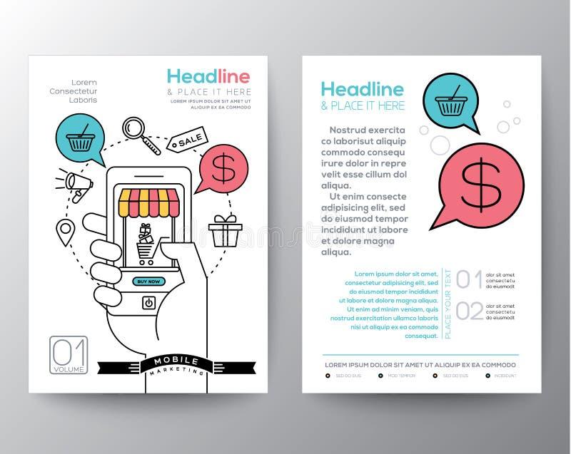 Het malplaatje van de het ontwerplay-out van de brochurevlieger met digitaal marketing concept stock illustratie