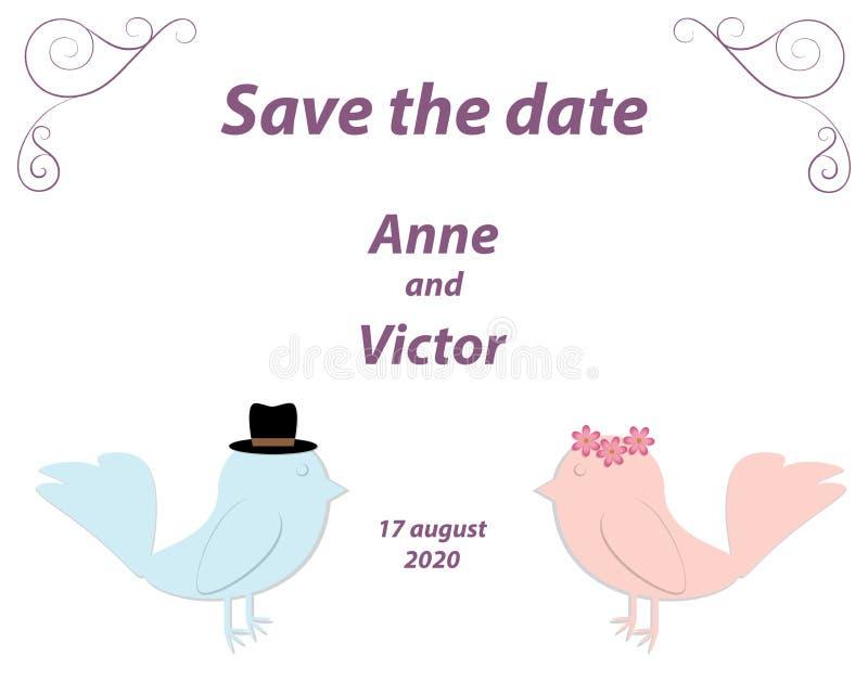 Het malplaatje van de huwelijksuitnodiging met een paar van vogels, de bruid en g royalty-vrije illustratie
