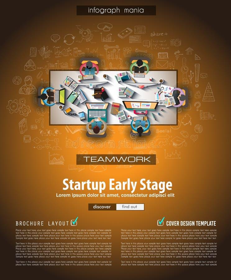 Het malplaatje van de Infographbrochure met getrokken hand schetst a royalty-vrije illustratie