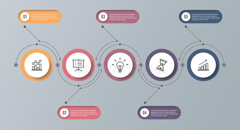 Het malplaatje van de Infographicchronologie met 5 opties Kan als grafiek, diagram, grafiek voor bedrijfspresentatie worden gebru stock illustratie