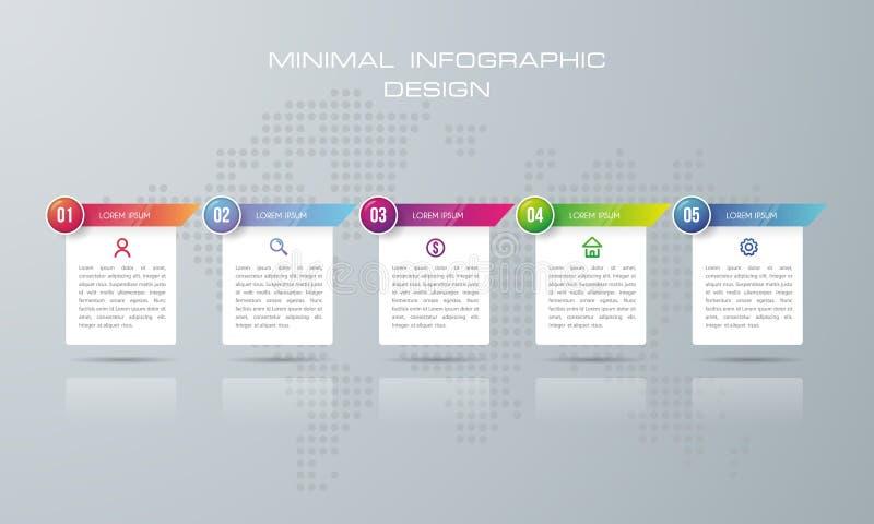Het malplaatje van de Infographicoptie, Infographic-malplaatje met 5 opties stock illustratie