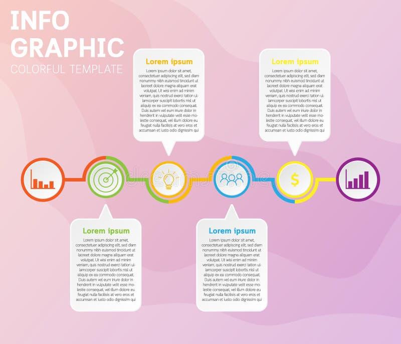 Het malplaatje van de Infographicschronologie met 6 opties op chronologiediagrammen stock illustratie