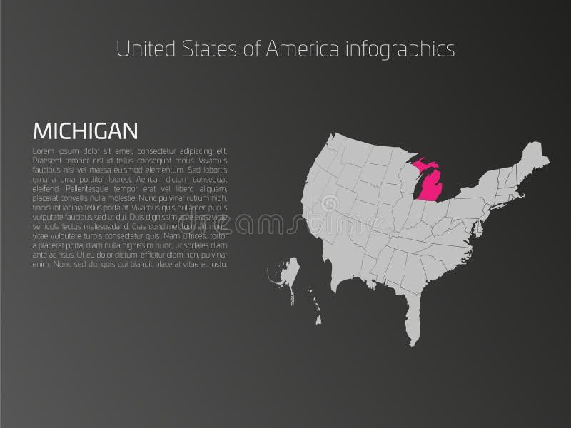 Het malplaatje van de kaartinfographics van de V.S. met benadrukt Michigan stock illustratie