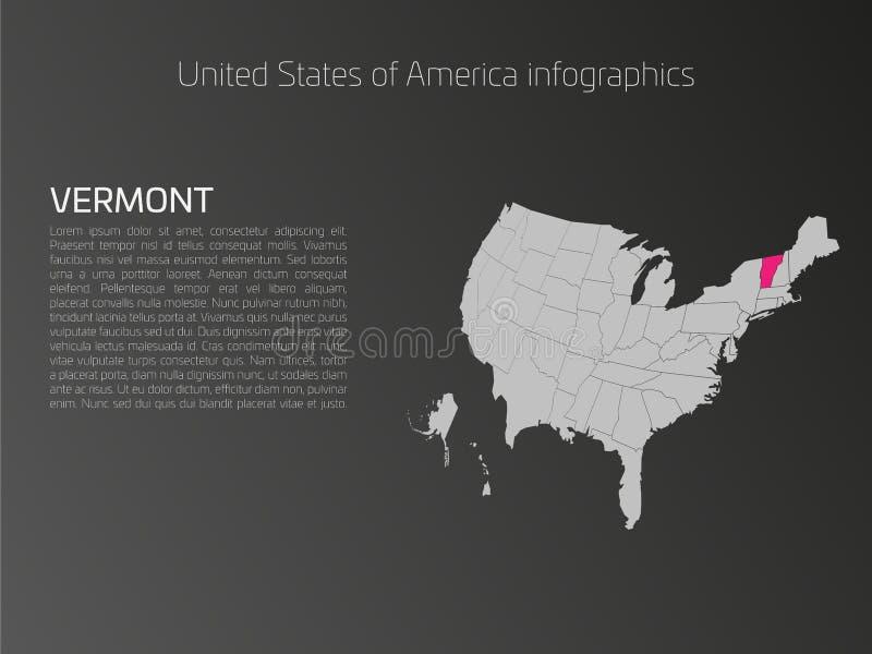 Het malplaatje van de kaartinfographics van de V.S. met benadrukt Vermont royalty-vrije illustratie