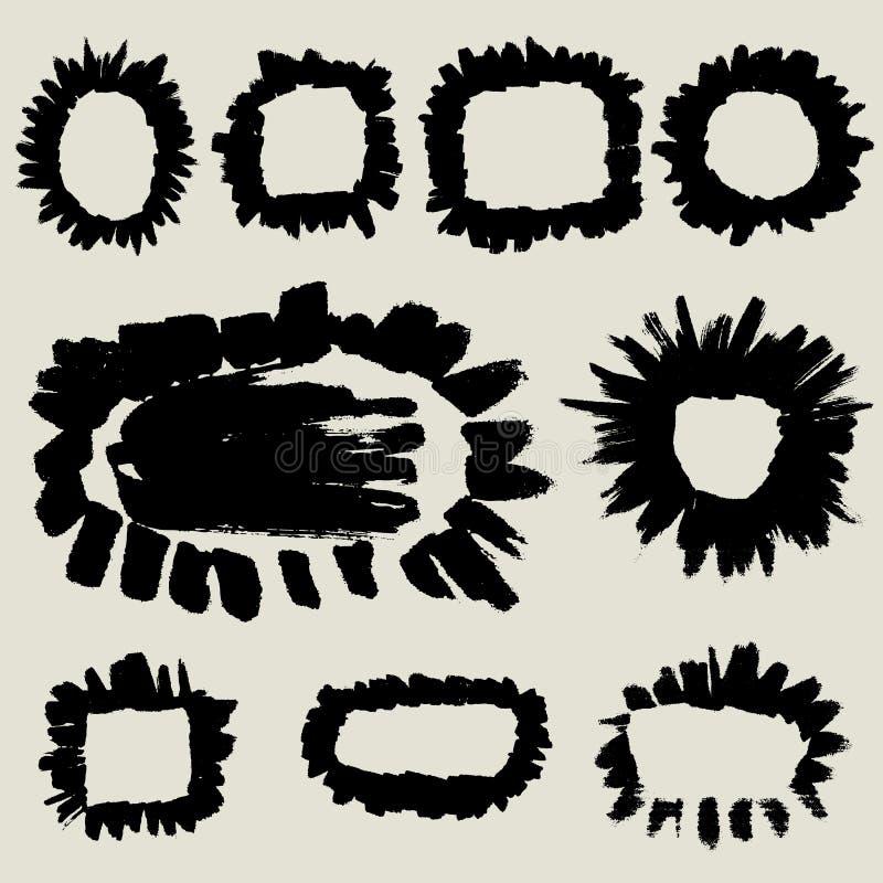 Het malplaatje van de krabbelborstel, kaderinzameling stock illustratie