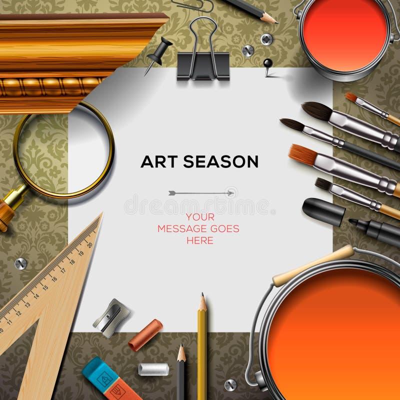 Het malplaatje van de kunstlevering met kunstenaarshulpmiddelen vector illustratie