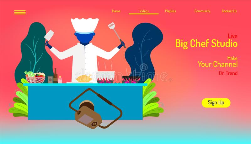 Het malplaatje van de landingspaginawebsite leef grote chef-kokstudio maak koken op uw kanalen in de achtergrond van de schoonhei vector illustratie