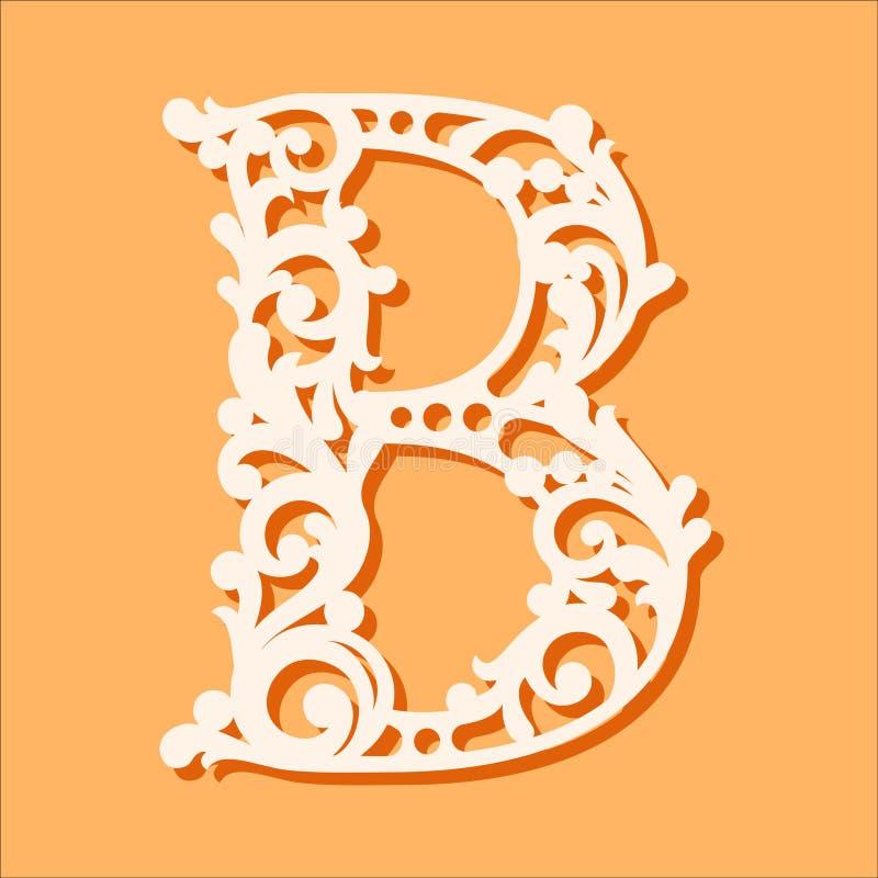 Het Malplaatje van de laserbesnoeiing Aanvankelijke monogrambrieven Buitensporige bloemenalfabetbrief royalty-vrije illustratie