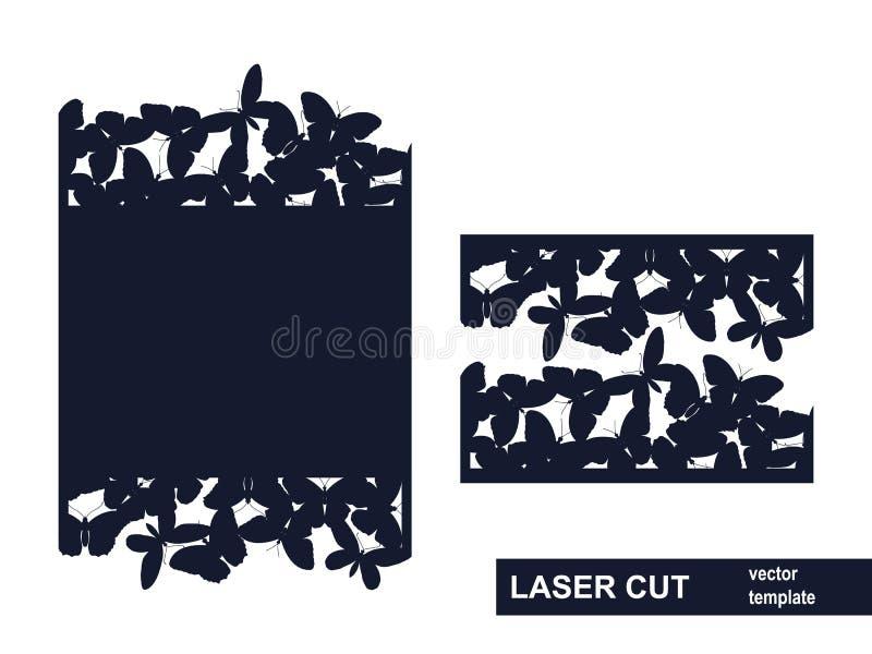 Het malplaatje van de laserbesnoeiing van vlinders vector illustratie