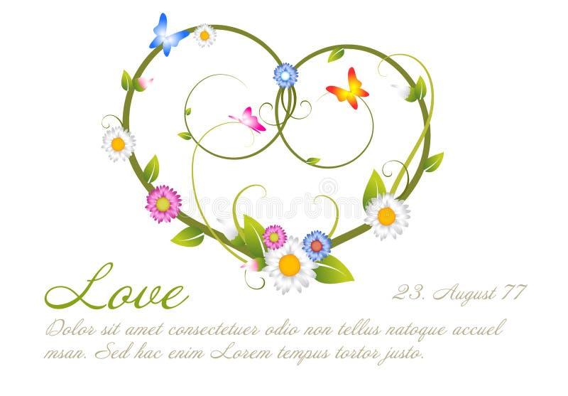 Het malplaatje van de liefdekaart van bloemen wordt gemaakt die vector illustratie