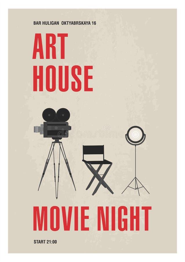 Het malplaatje van de Minimalisticaffiche voor de filmnacht van het kunsthuis met filmcamera die zich op driepoot, studiolamp en  vector illustratie