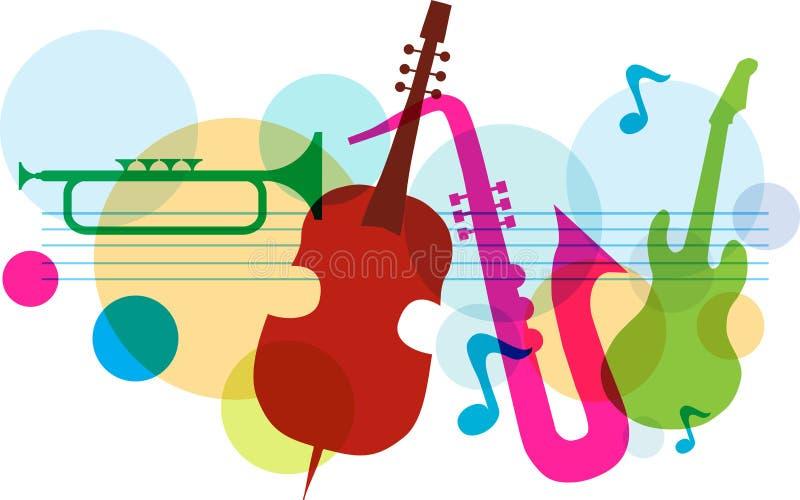 Het malplaatje van de muziek met nota's, gitaar en saxofoon vector illustratie