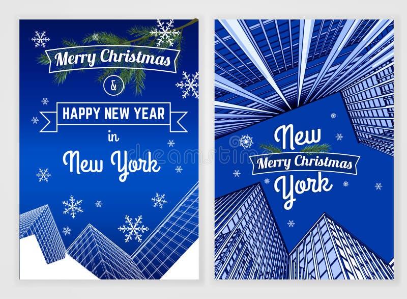 Het malplaatje van de nieuwjaarprentbriefkaar stock illustratie