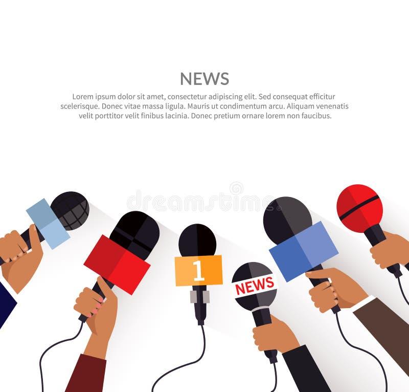 Het Malplaatje van de nieuwsbanner Reeks van Microfoon stock illustratie