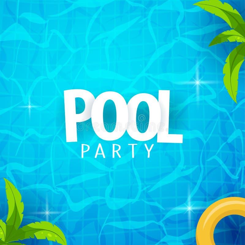 Het malplaatje van de de partijaffiche van de de zomerpool Water en palmen, opblaasbare gele matras Vector illustratie stock illustratie