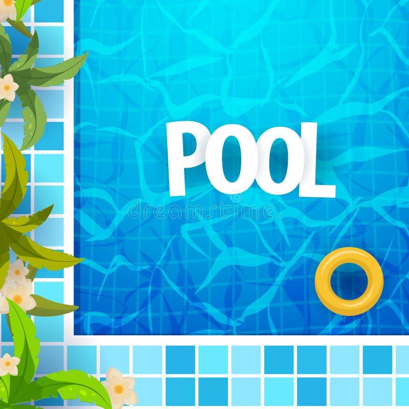 Het malplaatje van de de partijaffiche van de de zomerpool Water en palmen, opblaasbare gele matras Vector illustratie vector illustratie