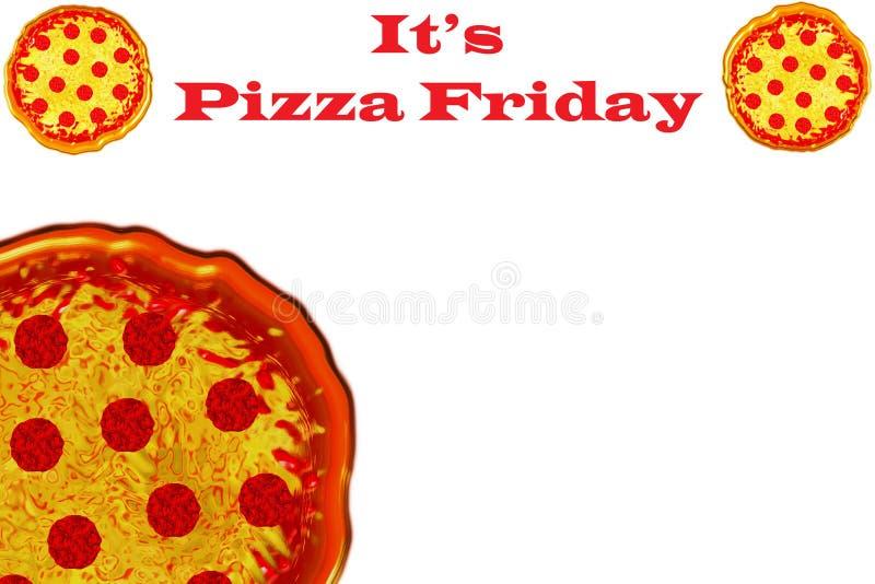 Het malplaatje van de pizzeriareclame met exemplaarruimte en illustratie van pepperonispizza royalty-vrije stock afbeelding