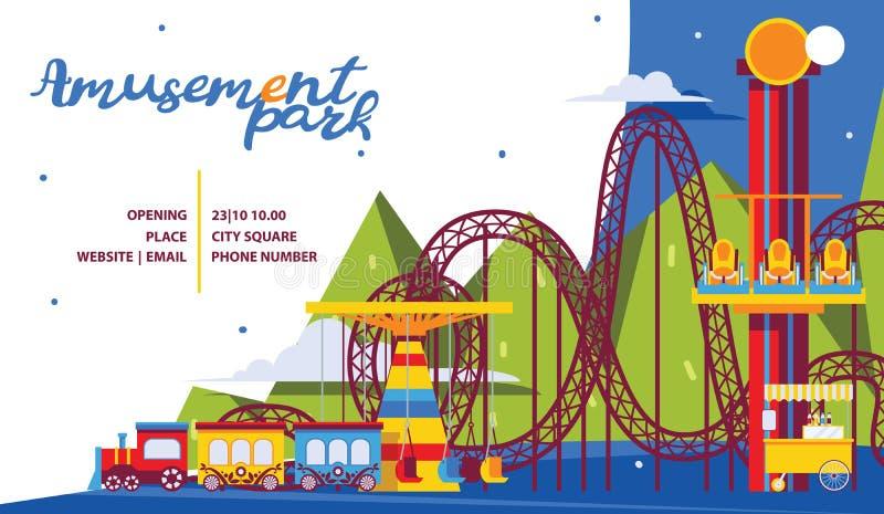 Het malplaatje van de pretparkaffiche Vlakke aantrekkelijkheden en carrousel voor familietijd stock illustratie