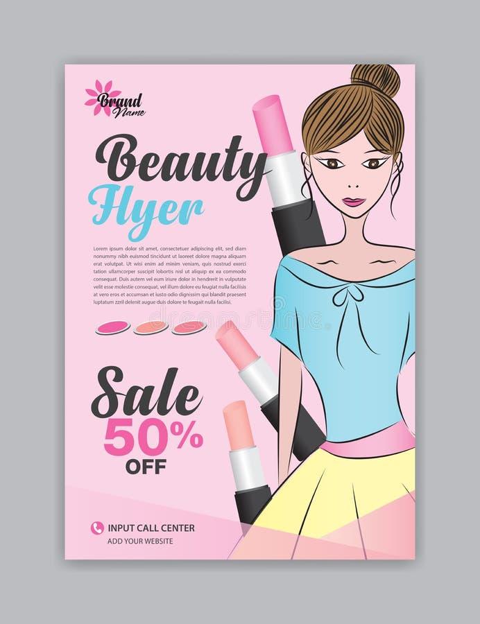 Het malplaatje van de schoonheidsvlieger, Tijdschriftadvertentie, schoonheidsmiddelenaffiche, pamfletsalon, brochurekuuroord, rec royalty-vrije illustratie
