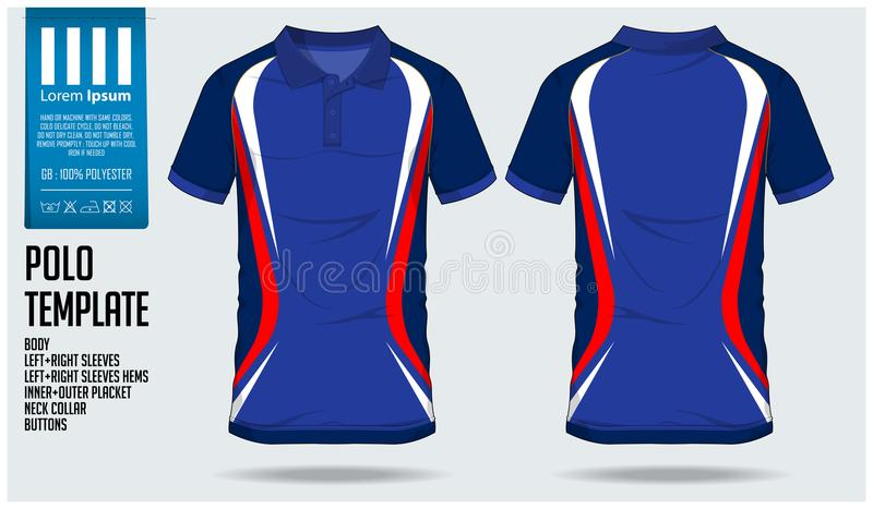 Het malplaatje van het de sportontwerp van de polot-shirt voor voetbal Jersey, voetbaluitrusting of sportclub Sport eenvormig in  stock illustratie