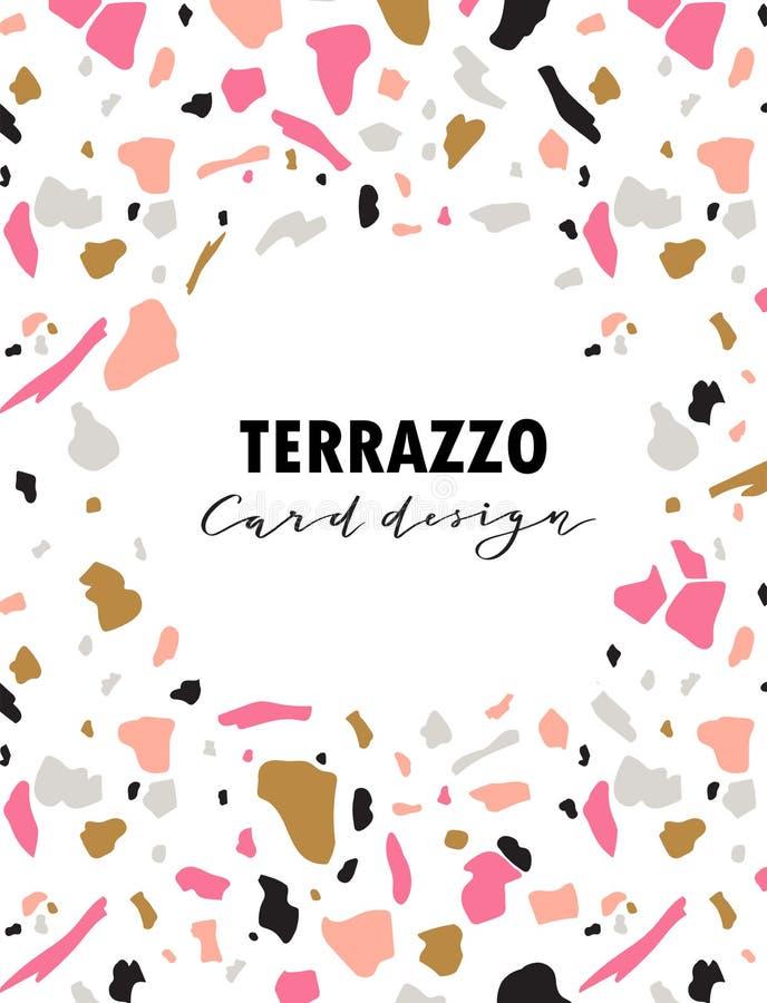 Het malplaatje van de terrazzokaart Vector abstracte achtergrond met chaotische vlekken en een ronde plaats voor een tekst Vector stock illustratie