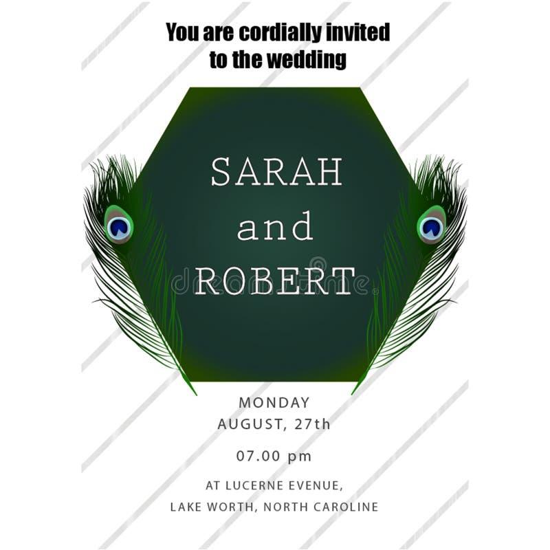 Het malplaatje van de de uitnodigingskaart van het pauwhuwelijk stock illustratie