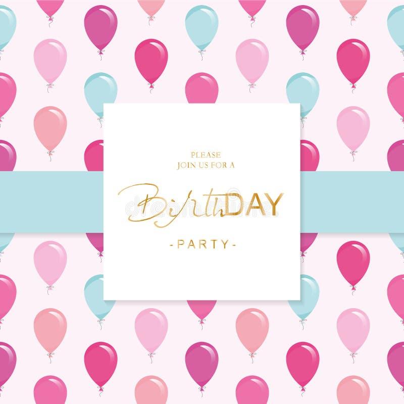 Het Malplaatje van de de Uitnodigingskaart van de verjaardagspartij Inbegrepen naadloos patroon met glanzende roze en blauwe ball stock illustratie