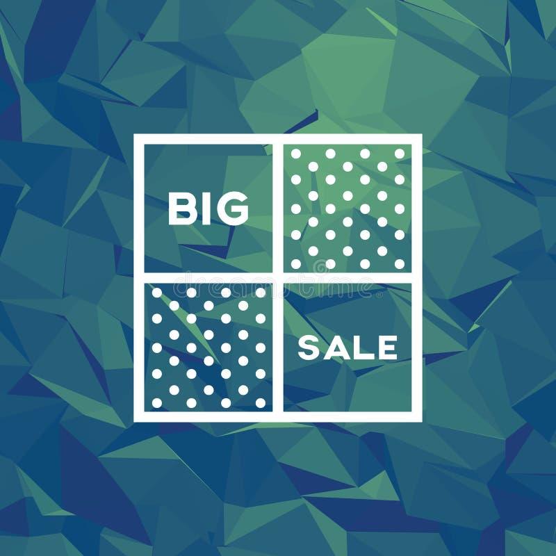 Het malplaatje van de verkoopbanner met lage poly vectorachtergrond Speciale aanbiedingen en kortingenbevordering royalty-vrije illustratie