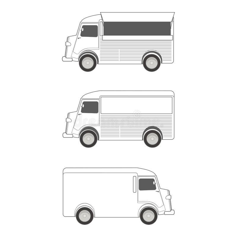 Het Malplaatje van de voedselvrachtwagen vector illustratie