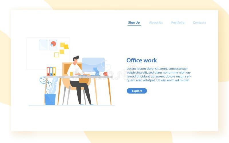 Het malplaatje van de Webbanner met programmeur of codeurszitting bij bureau en het werken Het bureauwerk in software-ontwikkelin vector illustratie