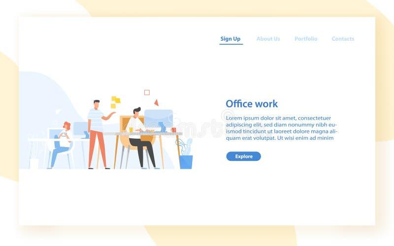 Het malplaatje van de Webbanner met programmeurs of codeurs die op kantoor samenwerken Software-ontwikkeling, programmering of pr stock illustratie