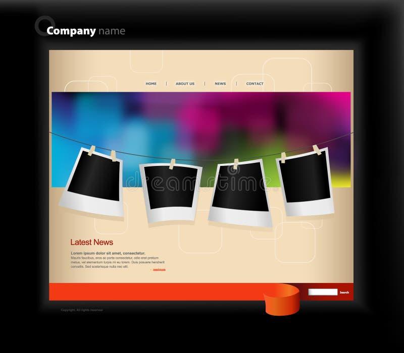Het malplaatje van de website met foto's. vector illustratie