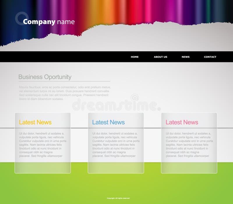 Het malplaatje van de website met strepen. vector illustratie