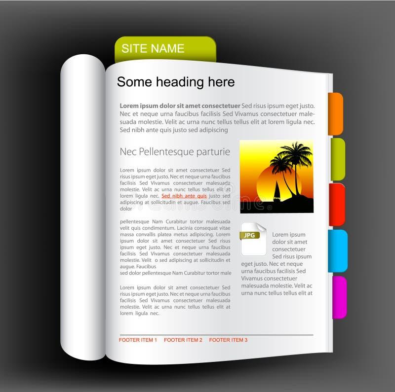 Het malplaatje van de website - open boek vector illustratie