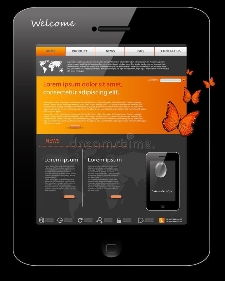 Het malplaatje van de website, universeel telefoonontwerp stock illustratie