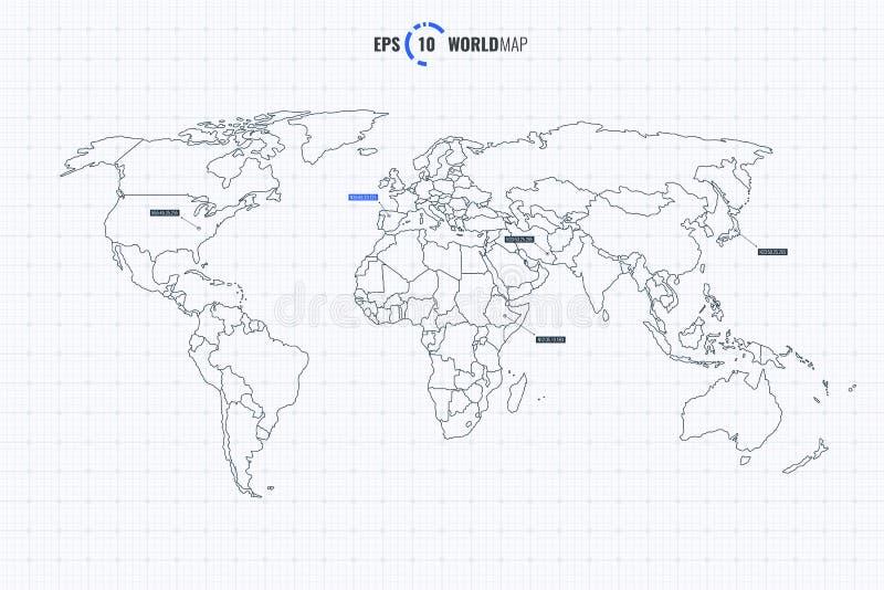 Het Malplaatje van de wereldkaart met Coutries stock illustratie