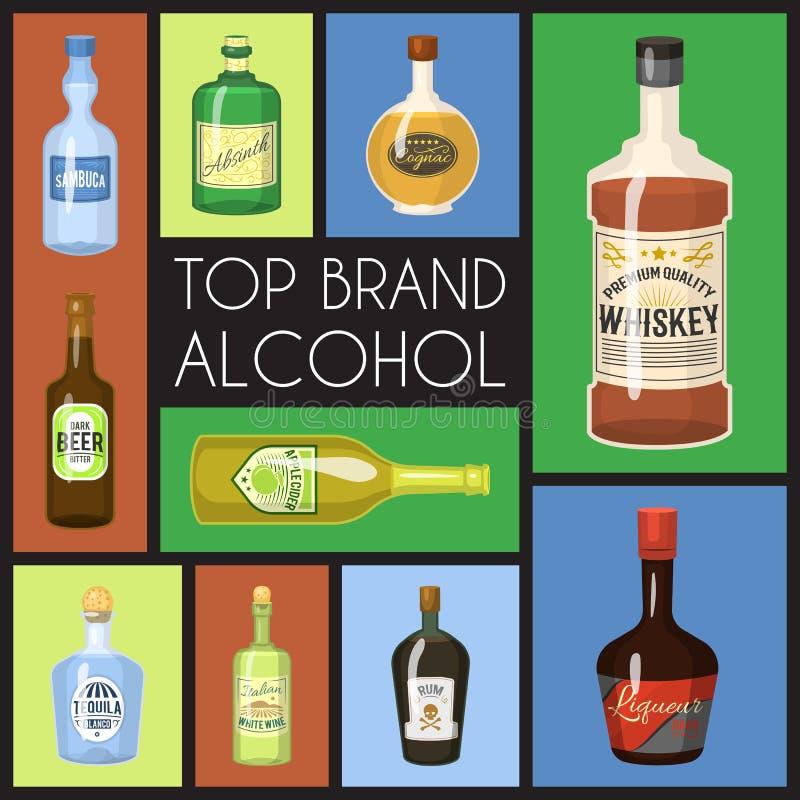 Het malplaatje van de de wijnlijst van de Alccoholbanner voor bar of restaurantmenu ontwerpt vectorillustratie Creatief artistiek royalty-vrije illustratie
