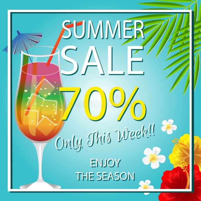 Het malplaatje van de de zomerverkoop met cocktail royalty-vrije illustratie