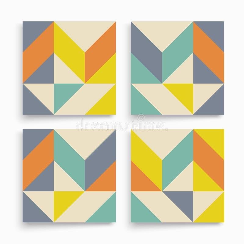 Het malplaatje van het dekkingsontwerp voor reclame Abstract kleurrijk geometrisch ontwerp Het patroon kan als malplaatje voor br stock illustratie